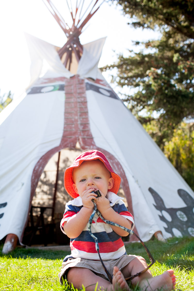 Outside the tee-pee.